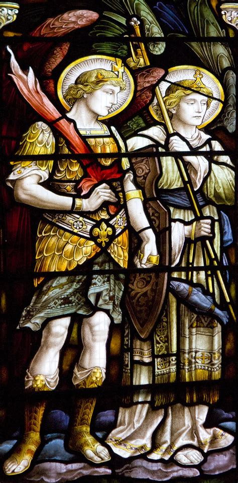 St Michael & St Raphael   Detail from the east window of
