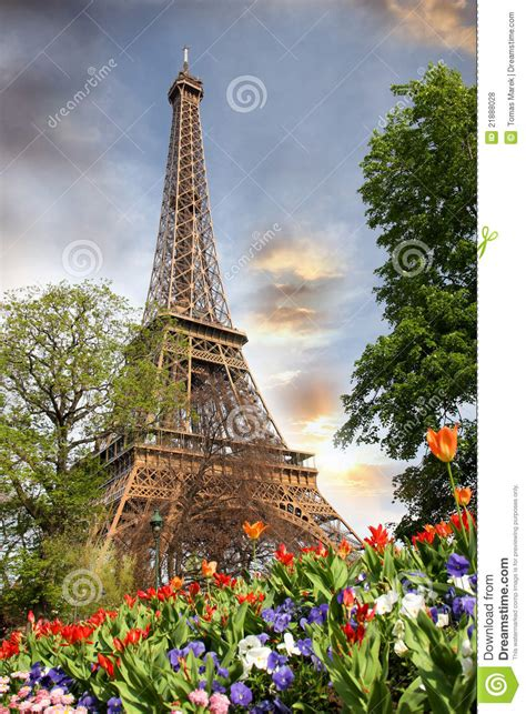 Eiffel Tower In Spring Time, Paris, France Royalty Free